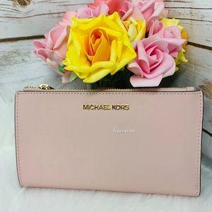 Michael Kors double zipper wristlet wallet blossom